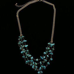 Luxury Semi-Precious Necklace Gold/Blue NWOT